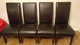 4 Real Leather Dining Chairs