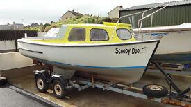 17ft GRP fishing boat, 12hp Yanmar Diesel and trailer