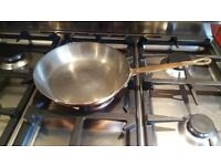 Vintage French copper long handled pan