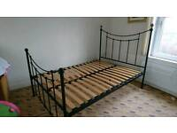 Double bed frame. Black and brass, antique style