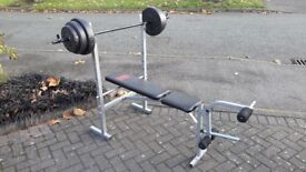 PRO POWER WEIGHTS BENCH & 30KG WEIGHTS & BARS