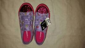 Girl shoe size 11,purple colour with pony design.