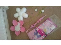 IKEA Pink and white Flower Kids Wall Nightlight Lamp Light and princesssingle bedding set