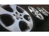 "GENUINE VW 18"" MONZA ALLOY WHEELS & TYRES 5X112 GOLF MK5/6/7 PASSAT AUDI A3 GTI"