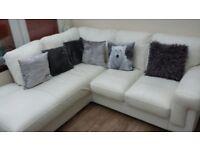 White Leather Corner Sofa from Harveys