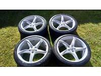 """Genuine Audi 19"""" Twists Alloy Wheels Just been Powder Coated Alloys & Tyres"""