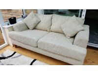 Matching Sofa and 2 Armchairs & Footstool & Pouffe Very Good Condition. Heavy Beige Material