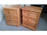 Set of solid pine bedside cabinets