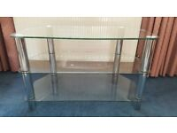 TV Stand - Clear glass with chrome legs
