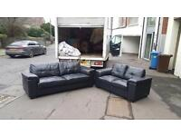3&2 seater sofa in black leather £325 delivered free within belfast