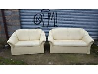 Nice cream leather sofa suite. 3 and 2 smallish sofas. used with a bit of wear. can deliver