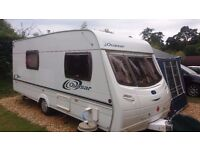 Caravan 4 berth 2004 Lunar Quasar 524 end washroom, inc porch & full awning & accessories