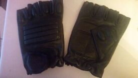 MOTORCYCLE LEATHER FINGERLESS GLOVES
