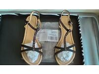 DOROTHY PERKINS BLACK FLAT SANDALS WITH RHINESTONES SIZE UK5 BRAND NEW