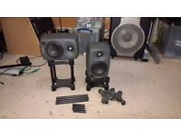 2 Genelec 8020C Bi-Amplified Studio Monitors with ISO Acoustics Isolation Stands