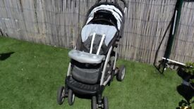 Mothercare pram with carrycot suitable from birth up to 4 years old.