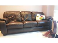 Excellent dark brown leather sofas (2-seater and 3-seater) for sale individually or separately