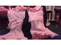 BEDROOM CURTAINS PINK WITH TIE BACKS AND PELMET
