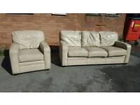 Lovely cream leather sofa suite .large 3 seater sofa and 1 armchair .can deliver