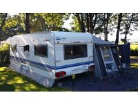 Hobby Excelsior 610UF 2005 Caravan with 2015 Isabella Penta Concept awning Zinox Mega Steel frame