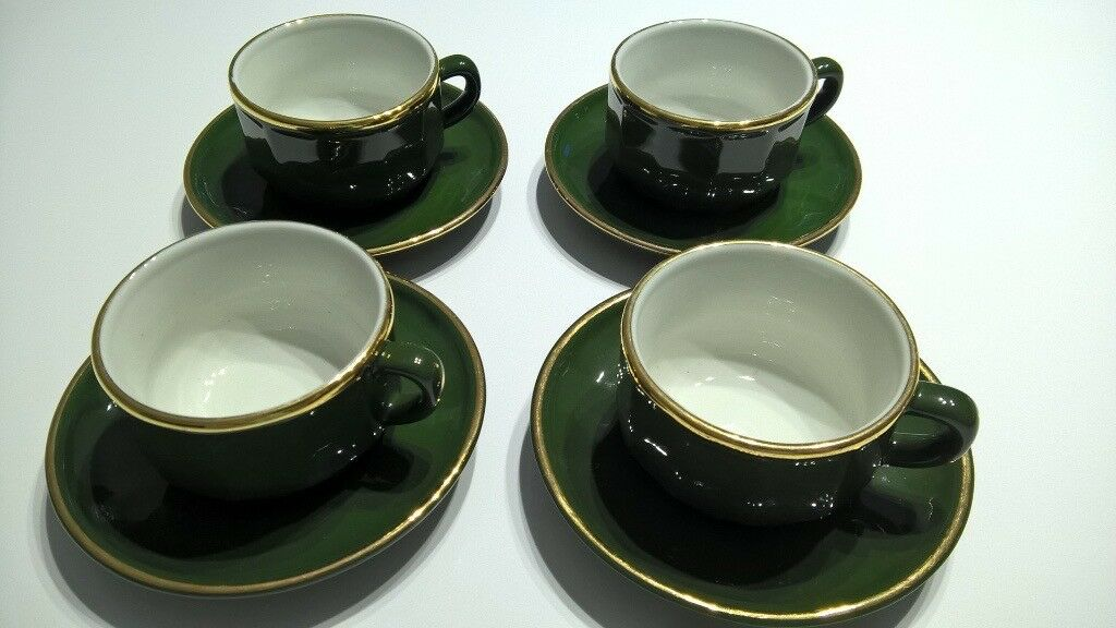 French Apilco Bistro Coffee Cups And Saucers Set Of 4
