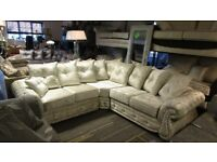 BRAND NEW CRUSHED VELVET CHESTERFIELD DOUBLE ARM CORNER SOFA / CORNER GROUP / CORNER SUITE NEW !!!