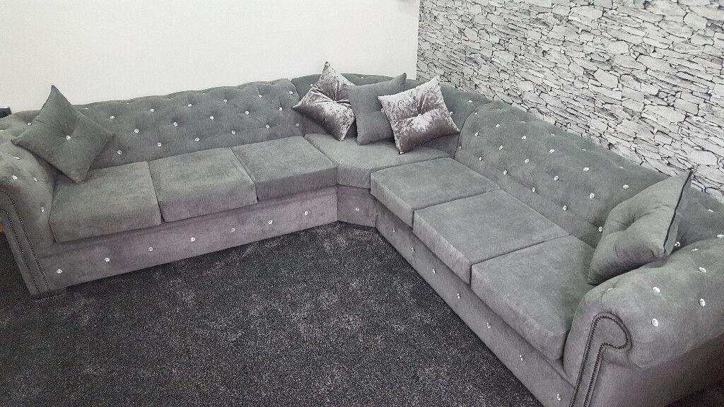 5 Seater Chesterfield Corner Sofa In Fabric Any Colour Any Size