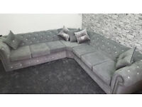 5 Seater Chesterfield Corner Sofa in Fabric (Any Colour) - (Any Size) - Read Description