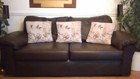 Brown Two Seater Sofa (Leather Face 100% with PVC Outer)