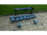 Weights 125kg and weight bench dumbells