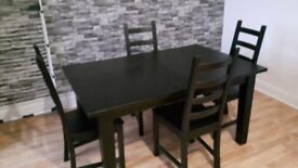 5ft Black Ash Dining Table and four Chairs