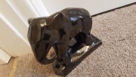 BLACK GLAZED STANDING CERAMIC ELEPHANT