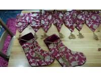Festive silk and velvet mantle runner & 2 stockings