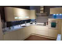 Fantastic ex display kitchen. Hi Gloss White Handleless kitchen, worktops and appliances. Bargain