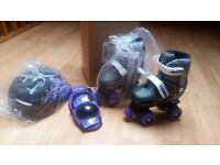 Girls rolletskates, helmut and knee pads NEW