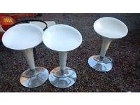 3 x white gloss adjustable bar stools