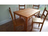 Wooden Dining Table with 4 Chairs Light Brown Wood Collection from Slough