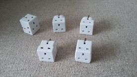 Double plug adapters 4 with 2 way 3 pin and 1 with 3 way 3 pin good condition