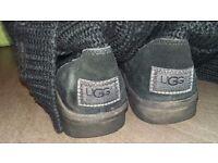 Black fabric UGG boots