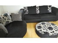 Dfs 4 seater sofa swivel chair. Stool