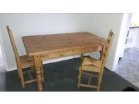 pine kitchen table with 4 ladderback chairs