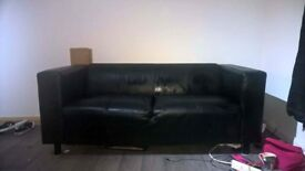 2 x 2 seater faux leather sofas