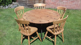 Wrought Iron & Reclaimed Solid Pine Round Table plus 5 farmhouse chairs