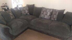 Grey and silver corner sofa