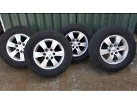 Four wheels complete with tyre's to fit a Mitsubishi L200