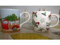 Laura Ashley Bone China Christmas Mugs