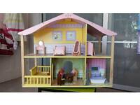 Dolls house (kidskraft) complete with furniture and dolls