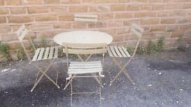 Genuine Vintage Antique French Folding Metal Garden Patio Set Table & 4 Chairs Green