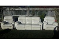 Beautiful 3 piece suite - electric recline & foot rests - real cream leather