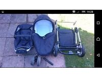 Icandy apple pram/buggy with rain cover, wheel pump and cup holder.